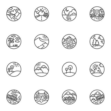Nature landscape line icons set, outline vector symbol collection, linear style pictogram pack. Signs, logo illustration. Set includes icons as waterfall, forest, mountain landscape, ocean beach, sea