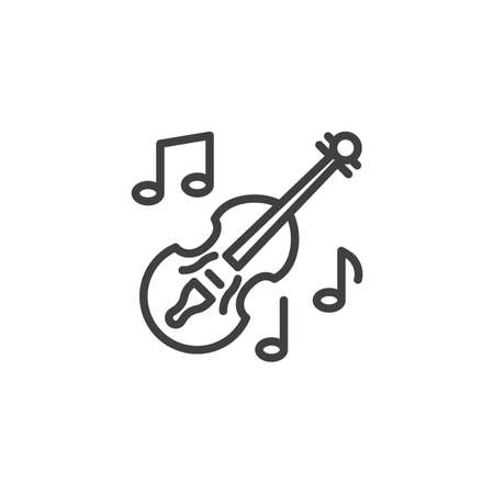Violin music instrument line icon. linear style sign for mobile concept and web design. Musical notes and violin outline vector icon. Symbol, logo illustration. Vector graphics