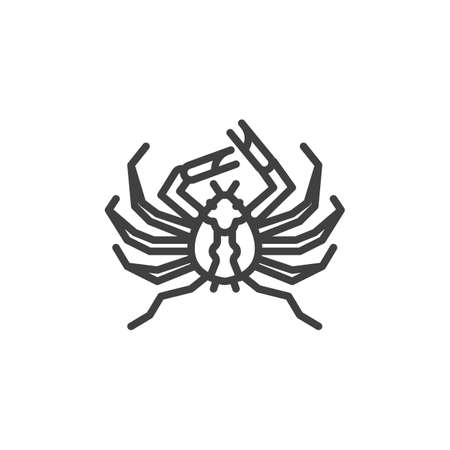 Giant spider crab line icon. linear style sign for mobile concept and web design. Japanese spider crab outline vector icon. Symbol, logo illustration. Vector graphics