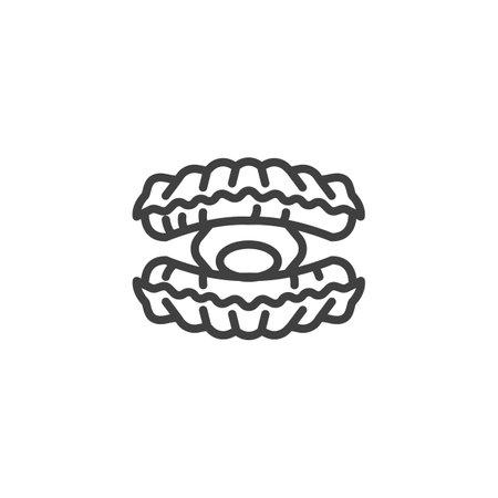 Bivalve molluscs line icon. linear style sign for mobile concept and web design. Seashell, marine animal outline vector icon. Symbol, logo illustration. Vector graphics