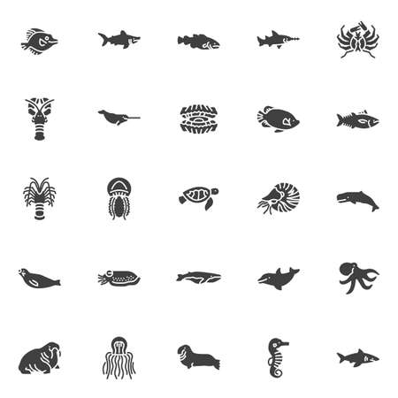 Marine life vector icons set, modern solid symbol collection, filled style pictogram pack. Signs, logo illustration. Set includes icons as sea fish, shark, narwhal, langoustine, jellyfish molluscs