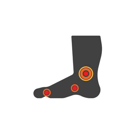 Foot ache vector icon. filled flat sign for mobile concept and web design. Painful foot glyph icon. Symbol, logo illustration. Vector graphics