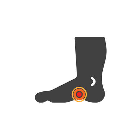 Plantar fasciitis vector icon. filled flat sign for mobile concept and web design. Heel foot pain glyph icon. Symbol, logo illustration. Vector graphics