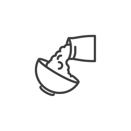 Baking and cooking ingredient line icon. linear style sign for mobile concept and web design. Bowl and flour bag outline vector icon. Symbol, logo illustration. Vector graphics