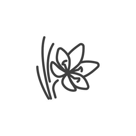 Saffron flower line icon. linear style sign for mobile concept and web design. Crocus saffron outline vector icon. Symbol, logo illustration. Vector graphics