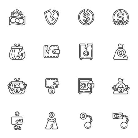 Bankruptcy line icons set, financial crisis outline vector symbol collection, linear style pictogram pack. Signs, logo illustration. Set includes icons as business problem, money loss, cash burning Illustration