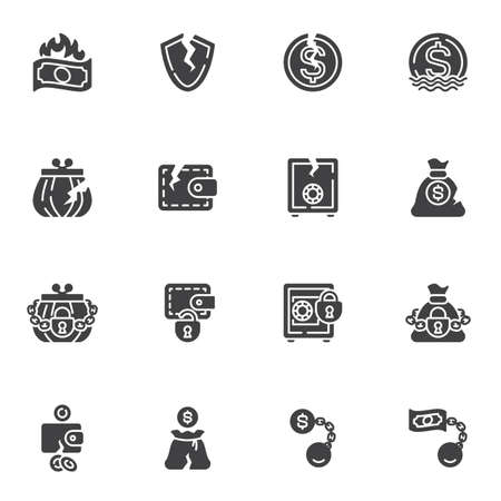 Bankruptcy vector icons set, financial crisis modern solid symbol collection, filled style pictogram pack. Signs, logo illustration. Set includes icons as business problem, money loss, cash burning