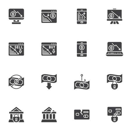 Financial crisis vector icons set, business problem modern solid symbol collection, bankruptcy filled style pictogram pack. Signs, logo illustration. Set includes icons as money loss, credit card Illustration