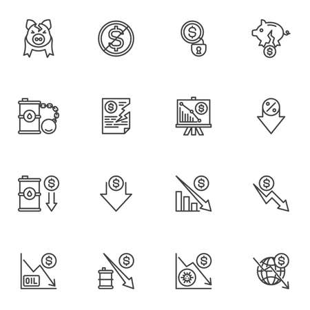 Bankruptcy and financial crisis line icons set, business finance crisis outline vector symbol collection, linear style pictogram pack. Signs, logo illustration. Set includes icons as money problem Illustration