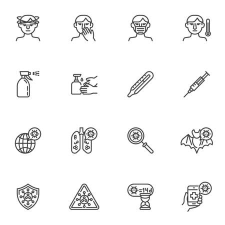 Coronavirus disease line icons set, outline vector symbol collection, linear style pictogram pack. Signs, logo illustration. Set includes icons as coronavirus lung disease, face mask, headache, fever