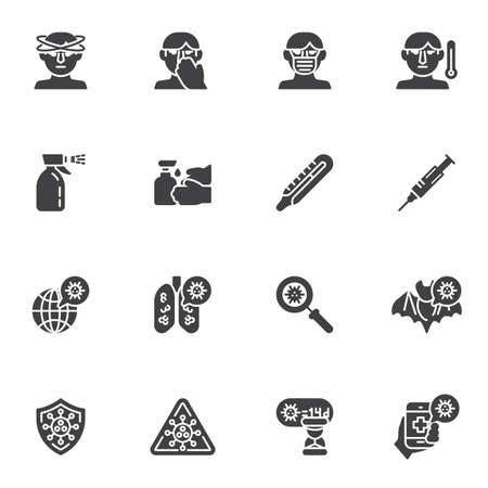 Coronavirus disease vector icons set, modern solid symbol collection, filled style pictogram pack. Signs, logo illustration. Set includes icons as coronavirus lung disease, face mask, headache, fever