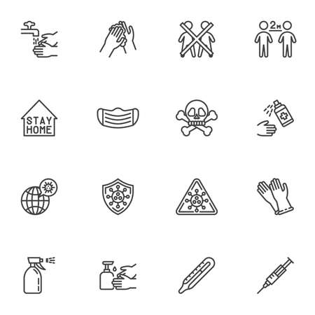 Coronavirus prevention line icons set, outline vector symbol collection, linear style pictogram pack. Signs logo illustration. Set includes icons as hand washing, social distancing, face mask, vaccine Illustration