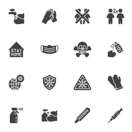 Coronavirus prevention vector icons set, modern solid symbol collection, filled style pictogram pack. Signs logo illustration. Set includes icons as hand washing, social distancing, face mask, vaccine Illustration