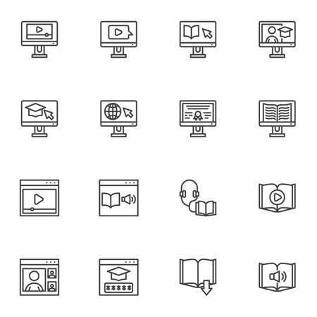 E-learning line icons set, online education outline vector symbol collection, linear style pictogram pack. Signs, logo illustration. Set includes icons as digital library, online courses, audio book