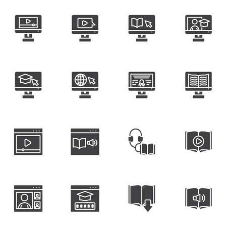 E-learning vector icons set, online education modern solid symbol collection, filled style pictogram pack. Signs, logo illustration. Set includes icons as digital library, online courses, audio book Illustration