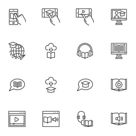 Online education line icons set, e-learning outline vector symbol collection, linear style pictogram pack. Signs, logo illustration. Set includes icons as audio book, mobile learning, video tutorials Illustration
