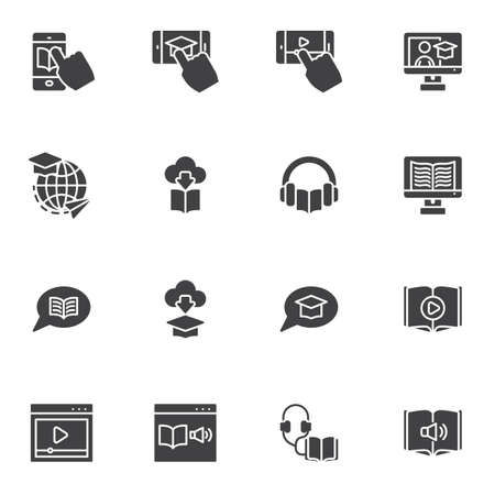 Online education vector icons set, e-learning modern solid symbol collection, filled style pictogram pack. Signs, logo illustration. Set includes icons as audio book, mobile learning, video tutorials