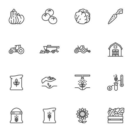 Agriculture and farming line icons set, outline vector symbol collection, linear style pictogram pack. Signs, logo illustration. Set includes icons as vegetable harvest, tractor, farm barn, harvester Illustration