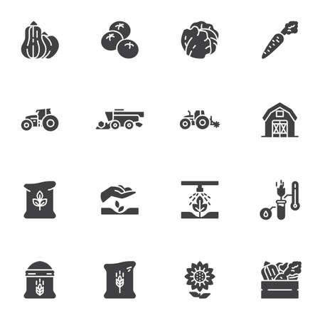Agriculture and farming vector icons set, modern solid symbol collection, filled style pictogram pack. Signs, logo illustration. Set includes icons as vegetable harvest, tractor, farm barn, harvester Illustration