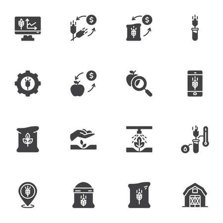 Farm agriculture business vector icons set, modern solid symbol collection, filled style pictogram pack. Signs, logo illustration. Set includes icons as wheat price, harvest statistics, seed bag