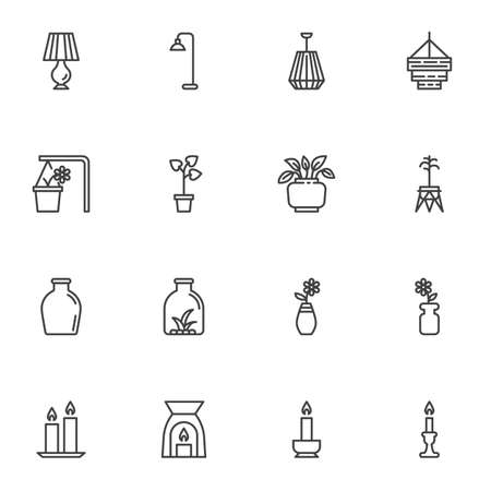 Home decor line icons set, outline vector symbol collection, linear style pictogram pack. Signs, logo illustration. Set includes icons as table lamp, chandelier, houseplant, flower pot, vase, candles