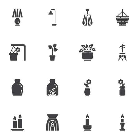 Home decor vector icons set, modern solid symbol collection, filled style pictogram pack. Signs, logo illustration. Set includes icons as table lamp, chandelier, houseplant, flower pot, vase, candles Illustration