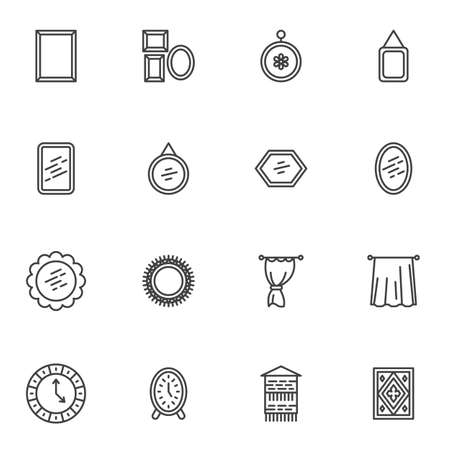 Home interior decoration line icons set, outline vector symbol collection, linear style pictogram pack. Signs, logo illustration. Set includes icons as picture frame, mirror, curtain, carpet, clock Illustration