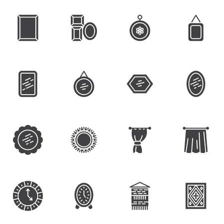 Home interior decoration vector icons set, modern solid symbol collection, filled style pictogram pack. Signs, logo illustration. Set includes icons as picture frame, mirror, curtain, carpet, clock