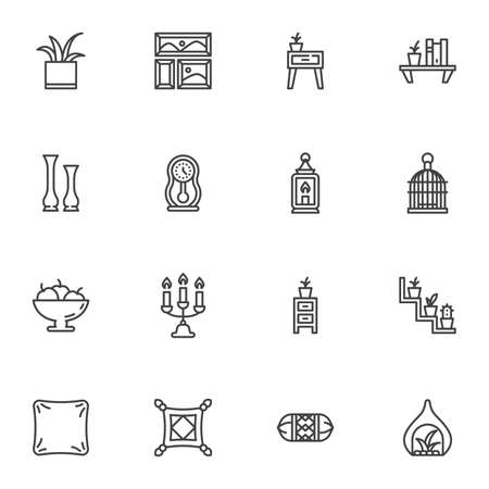 Furniture and home decor line icons set, outline vector symbol collection, linear style pictogram pack. Signs logo illustration. Set includes icons as bookshelf, houseplant, cushion pillow, nightstand