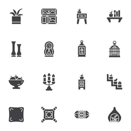 Furniture and home decor vector icons set, modern solid symbol collection, filled style pictogram pack. Signs logo illustration. Set includes icons as bookshelf, houseplant, cushion pillow, nightstand