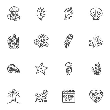 World ocean day line icons set, outline vector symbol collection, linear style pictogram pack. Signs, logo illustration. Set includes icons as seashell, seaweed, starfish, lighthouse, jellyfish, fish
