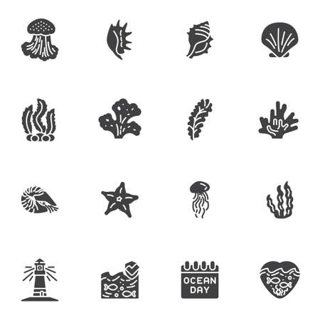 World ocean day vector icons set, modern solid symbol collection, filled style pictogram pack. Signs, logo illustration. Set includes icons as seashell, seaweed, starfish, lighthouse, jellyfish, fish