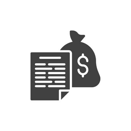 Financial report document vector icon. filled flat sign for mobile concept and web design. Money investment contract glyph icon. Symbol, logo illustration. Vector graphics