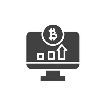 Bitcoin online statistics vector icon. filled flat sign for mobile concept and web design. Computer monitor with bitcoin diagram glyph icon. Symbol, logo illustration. Vector graphics