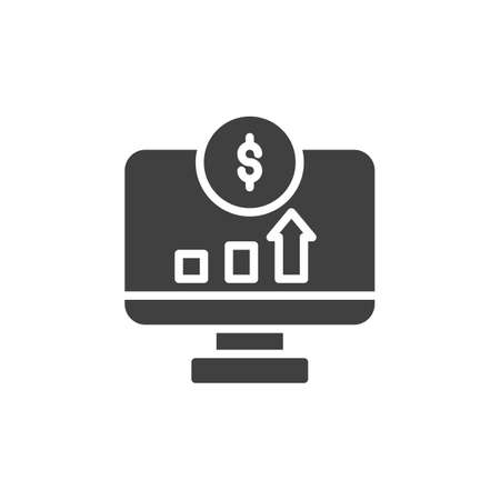 Dollar online statistics vector icon. filled flat sign for mobile concept and web design. Computer monitor with dollar diagram glyph icon. Symbol, logo illustration. Vector graphics