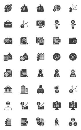 Business and finance vector icons set, modern solid symbol collection, filled style pictogram pack. Signs, logo illustration. Set includes icons as business analytics, investment chart, management Illustration