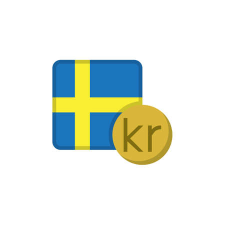 Swedish krona money and flag flat icon, vector sign, Sweden currency with flag colorful pictogram isolated on white. SEK money symbol, logo illustration. Flat style design