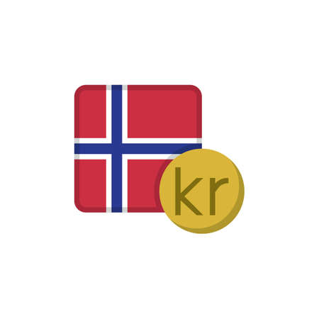 Norwegian krone money and flag flat icon, vector sign, Norway currency with flag colorful pictogram isolated on white. NOK money symbol, logo illustration. Flat style design