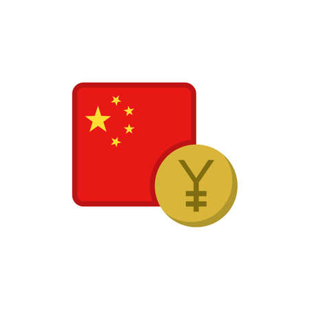Chinese yuan money and flag flat icon, vector sign, China currency with flag colorful pictogram isolated on white. CNY money symbol, logo illustration. Flat style design Illustration