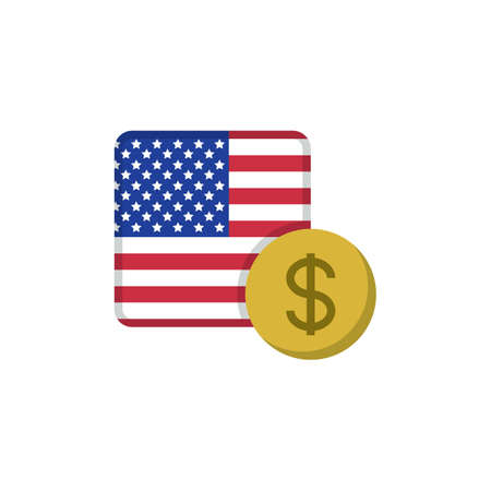 Dollar money and flag flat icon, vector sign, USA currency with flag colorful pictogram isolated on white. USD money symbol, logo illustration. Flat style design Illustration