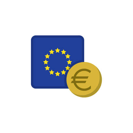 Euro money and flag flat icon, vector sign, EU currency with flag colorful pictogram isolated on white. EUR money symbol, logo illustration. Flat style design