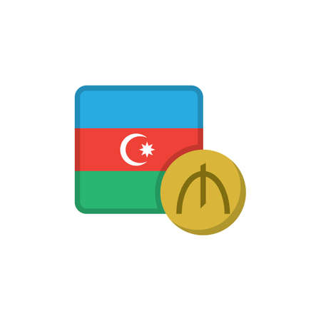 Azerbaijan manat and flag flat icon, vector sign, Azerbaijan currency with flag colorful pictogram isolated on white. AZN money symbol, logo illustration. Flat style design Illustration