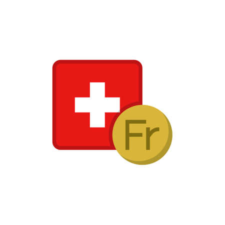 Swiss franc money and flag flat icon, vector sign, Switzerland Currency with flag colorful pictogram isolated on white. CHF money symbol, logo illustration. Flat style design
