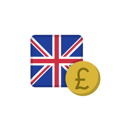 Pound money and flag flat icon, vector sign, UK Currency with flag colorful pictogram isolated on white. GBP money symbol, logo illustration. Flat style design