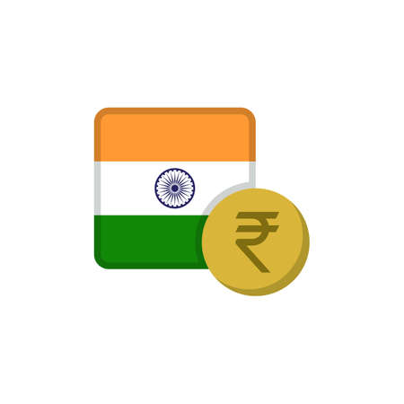 Indian money and flag flat icon, vector sign, Rupee currency with flag colorful pictogram isolated on white. INR money symbol, logo illustration. Flat style design