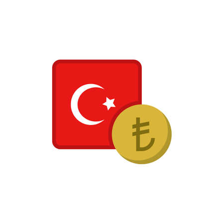 Turkish money and flag flat icon, vector sign, Turkey lira currency with flag colorful pictogram isolated on white. TRY money symbol, logo illustration. Flat style design