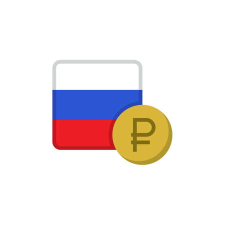 Russian money and flag flat icon, vector sign, Russia ruble currency with flag colorful pictogram isolated on white. RUB money symbol, logo illustration. Flat style design Illustration