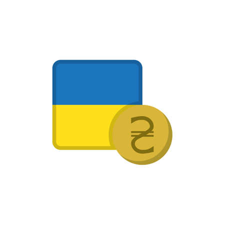 Ukraine money and flag flat icon, vector sign, Hryvnia currency with flag colorful pictogram isolated on white. UAH money symbol, logo illustration. Flat style design
