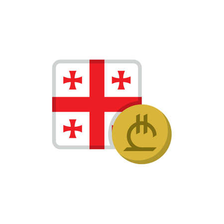 Georgia money and flag flat icon, vector sign, Lari currency with flag colorful pictogram isolated on white. GEL money symbol, logo illustration. Flat style design