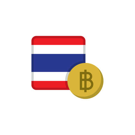 Thai money and flag flat icon, vector sign, Baht currency with flag colorful pictogram isolated on white. THB money symbol, logo illustration. Flat style design Illustration